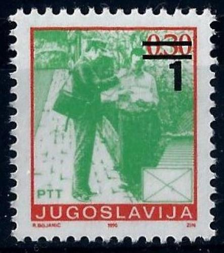 Poštovní známka Jugoslávie 1990 Poštovní služby pøetisk Mi# 2433