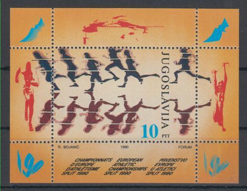 Poštovní známka Jugoslávie 1990 ME v atletice Mi# Block 37