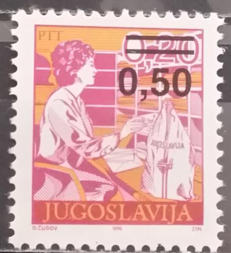 Poštovní známka Jugoslávie 1990 Poštovní služby pøetisk Mi# 2437