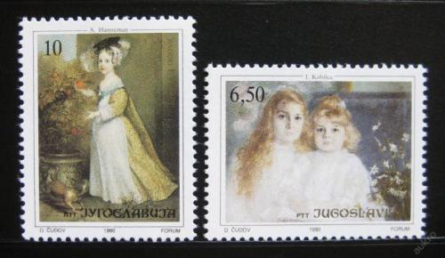 Poštovní známky Jugoslávie 1990 Umìní, malby dìtí Mi# 2440-41