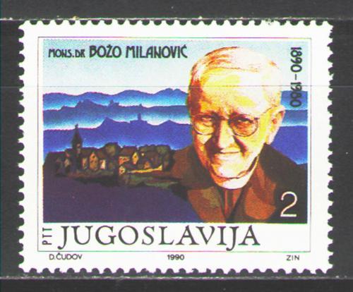 Poštovní známka Jugoslávie 1990 Božo Milanoviè, politik Mi# 2458