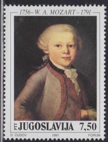 Poštovní známka Jugoslávie 1991 Umìní, Wolfgang Amadeus Mozart Mi# 2472