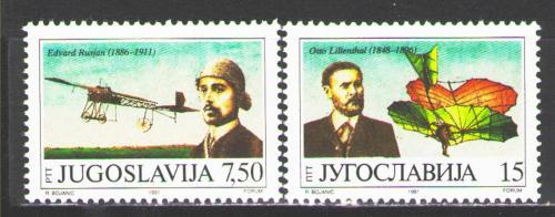 Poštovní známky Jugoslávie 1991 Otto Lilienthal Mi# 2473-74