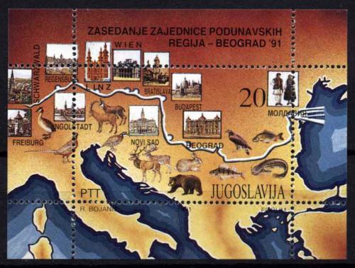 Poštovní známka Jugoslávie 1991 Mapa povodí Dunaje Mi# Block 40 Kat 8€