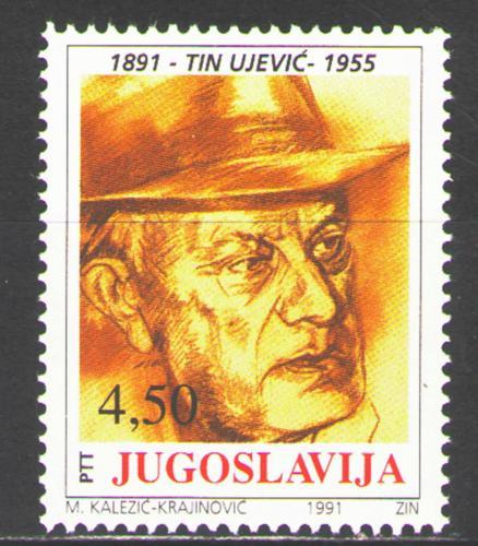 Poštovní známka Jugoslávie 1991 Tin Ujeviè, spisovatel Mi# 2488