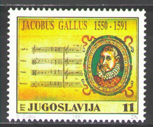 Poštovní známka Jugoslávie 1991 Jakobus Gallus, skladatel Mi# 2489