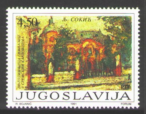 Poštovní známka Jugoslávie 1991 Gymnázium v Sremski Karlovci Mi# 2502