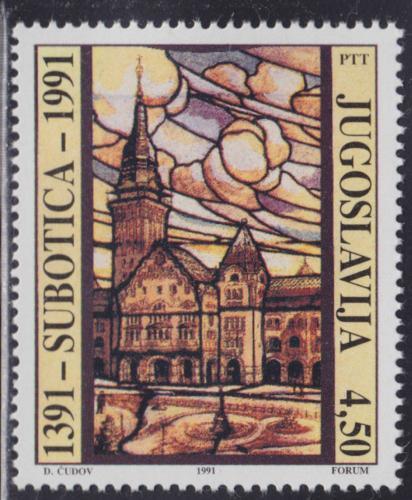 Poštovní známka Jugoslávie 1991 Radnice Subotica, 600. výroèí Mi# 2505