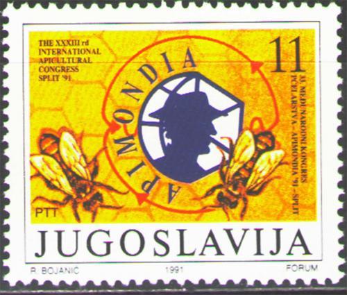 Poštovní známka Jugoslávie 1991 Vèelaøský kongres APIMONDIA Mi# 2506