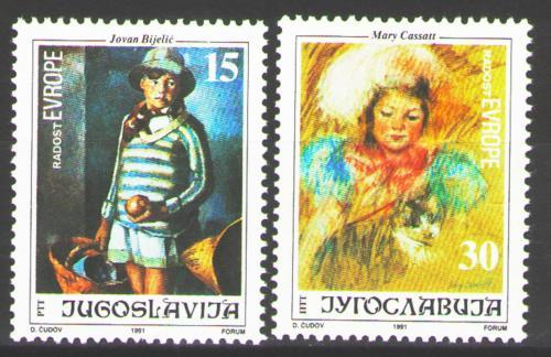 Poštovní známky Jugoslávie 1991 Umìní, malby dìtí Mi# 2507-08