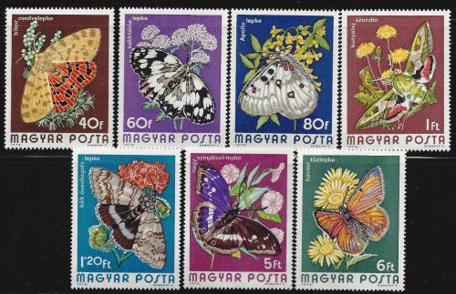 Poštovní známky Maïarsko 1974 Motýli Mi# 2994-3000 Kat 6.50€