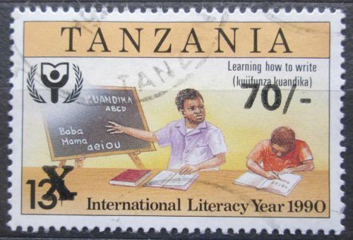 Poštovní známka Tanzánie 1996 Mezinárodní rok gramotnosti pøetisk Mi# 2273