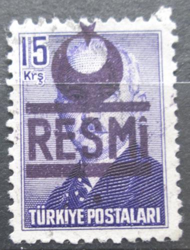 Poštovní známka Turecko 1953 Prezident Atatürk pøetisk, úøední Mi# 20