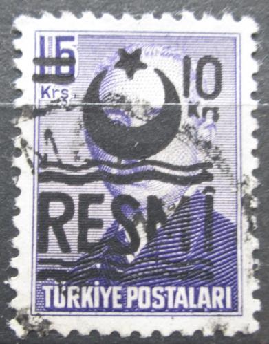 Poštovní známka Turecko 1955 Prezident Atatürk pøetisk, úøední Mi# 32