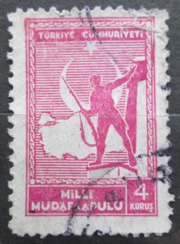 Poštovní známka Turecko 1942 Voják pøed mapou, daòová Mi# 64