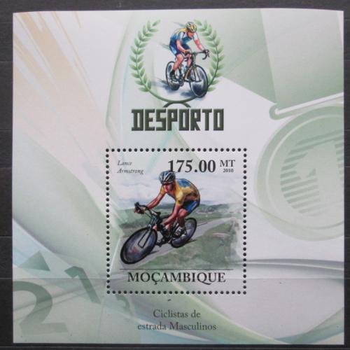 Poštovní známka Mosambik 2010 Lance Armstrong, cyklistika Mi# Block 326 Kat 10€