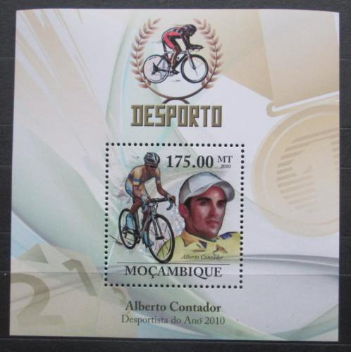 Poštovní známka Mosambik 2010 Alberto Contador, cyklistika Mi# Block 327 Kat 10€