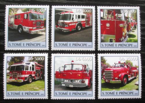 Poštovní známky Svatý Tomáš 2003 Hasièská auta Mi# 2277-82 Kat 11€