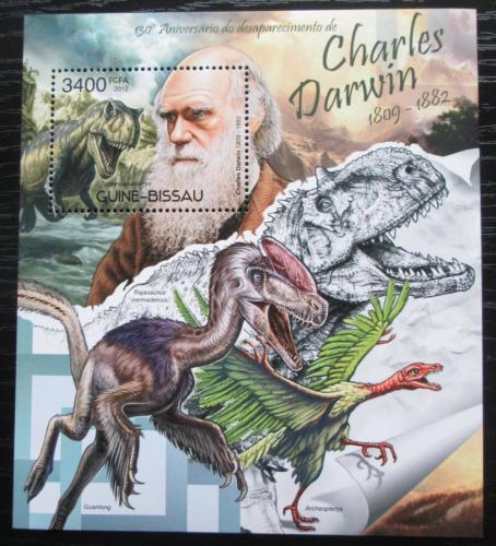 Poštovní známka Guinea-Bissau 2012 Charles Darwin, dinosauøi Mi# Block 1072  Kat 14€