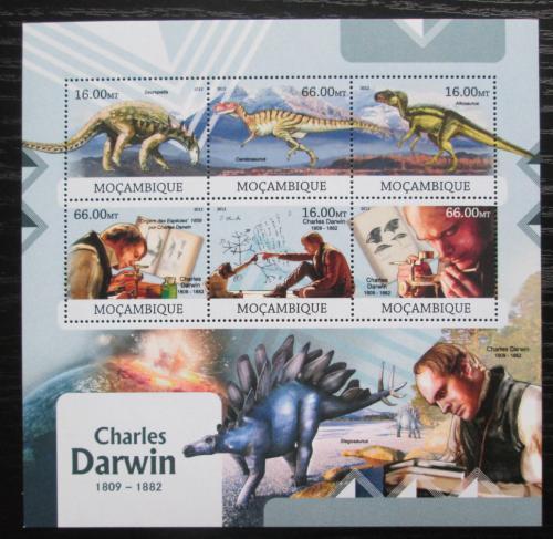 Poštovní známky Mosambik 2012 Charles Darwin a dinosauøi Mi# 5867-72 Kat 14€