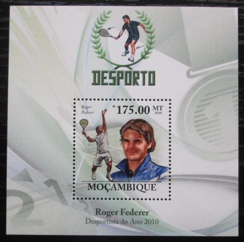Poštovní známka Mosambik 2010 Roger Federer, tenis Mi# Block 344 Kat 10€