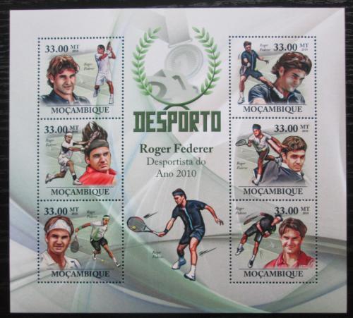 Poštovní známky Mosambik 2010 Roger Federer, tenis Mi# 3848-53 Kat 10€