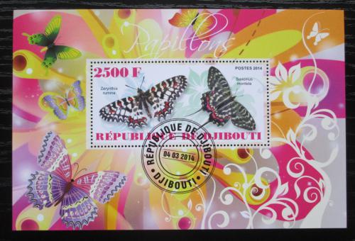 Poštovní známka Džibutsko 2014 Motýli Mi# N/N
