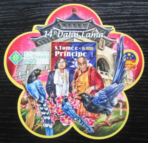 Poštovní známka Svatý Tomáš 2016 Dalajláma Mi# Block 1232