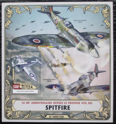 Poštovní známka Niger 2016 Stíhaèky Spitfire Mi# Block 510 Kat 13€