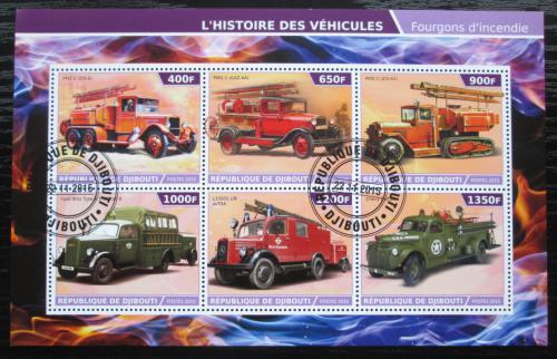 Poštovní známky Džibutsko 2015 Historická hasièská auta Mi# N/N