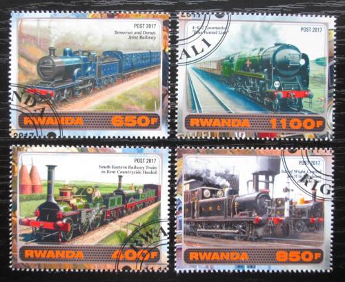 Poštovní známky Rwanda 2017 Historické parní lokomotivy Mi# N/N