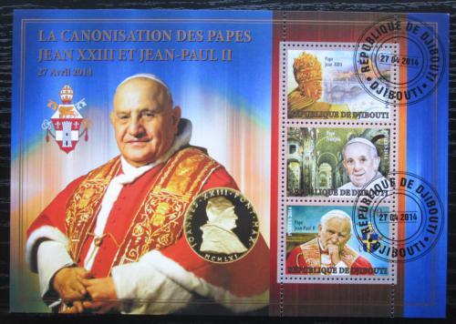 Poštovní známky Džibutsko 2014 Kanonizace papežù, zlaté písmo Mi# N/N