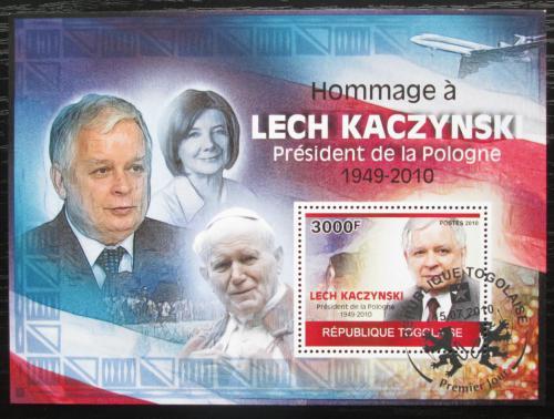 Poštovní známka Togo 2010 Prezident Lech Kaczyòski Mi# Block 520 Kat 12€