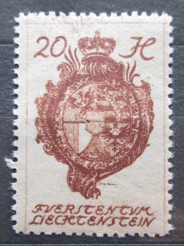 Poštovní známka Lichtenštejnsko 1920 Znak knížectví Mi# 28