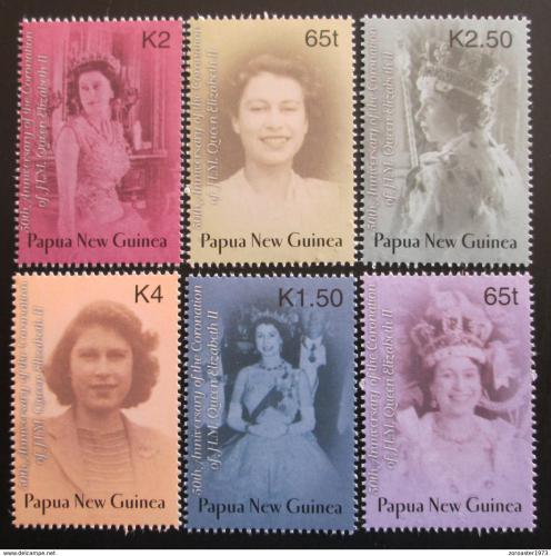 Poštovní známky Papua Nová Guinea 2003 Královna Alžbìta II. Mi# 976-81 Kat 7.50€