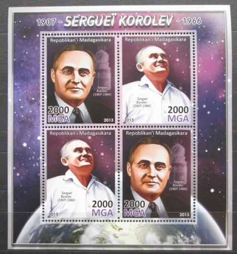 Poštovní známky Madagaskar 2013 Sergej Koroljov, raketový inženýr Mi# N/N