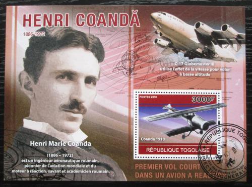 Poštovní známka Togo 2010 Henri Marie Coanda, letadla Mi# Block 568 Kat 12€