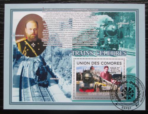 Poštovní známka Komory 2009 Lokomotivy Mi# Block 498 Kat 15€