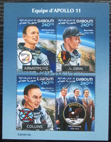 Poštovní známky Džibutsko 2019 Prùzkum Mìsíce, mise Apollo 11 Mi# N/N