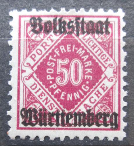 Poštovní známka Württembersko 1919 Nominální hodnota, úøední Mi# 143 Kat 7€