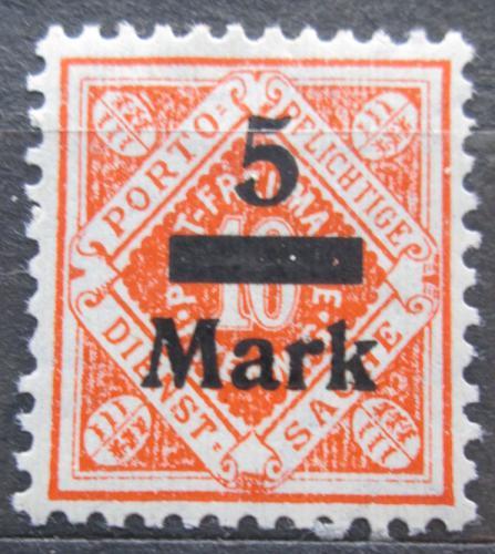 Poštovní známka Württembersko 1923 Nominální hodnota pøetisk, úøední Mi# 159