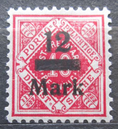 Poštovní známka Württembersko 1922 Nominální hodnota pøetisk, úøední Mi# 161