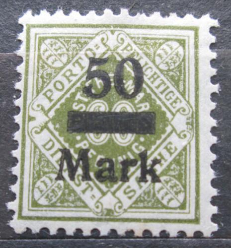 Poštovní známka Württembersko 1923 Nominální hodnota pøetisk, úøední Mi# 165
