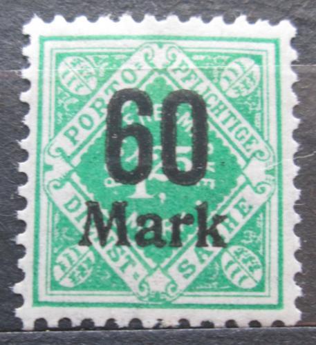 Poštovní známka Württembersko 1923 Nominální hodnota pøetisk, úøední Mi# 166