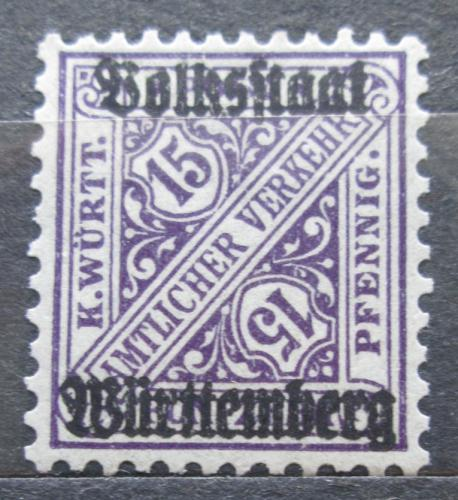 Poštovní známka Württembersko 1919 Nominální hodnota, úøední Mi# 263