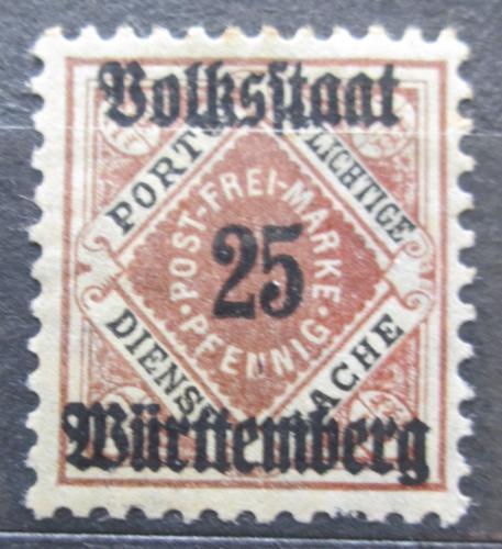 Poštovní známka Württembersko 1919 Nominální hodnota, úøední Mi# 141