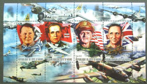 Poštovní známky Pobøeží Slonoviny 2012 Váleèní vùdci a letadla Mi# N/N