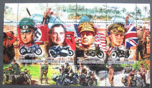 Poštovní známky Pobøeží Slonoviny 2012 Váleèní vùdci a motocykly Mi# N/N