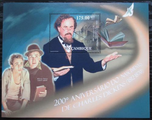 Poštovní známka Mosambik 2012 Charles Dickens, spisovatel Mi# Block A 590 Kat 10€
