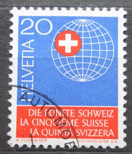 Poštovní známka Švýcarsko 1966 Zemìkoule se švýcarským køížem Mi# 841